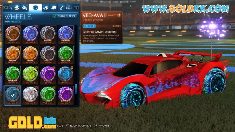 Painted Rocket League Ved-ava II Wheels On Guardian GXT